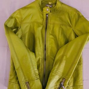 Jackets & Blazers - Lime green vegan leather jacket